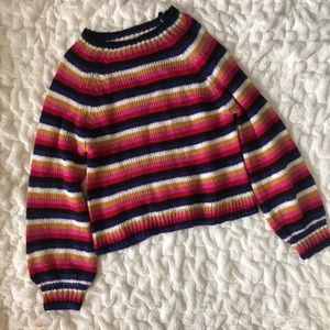 Almost Famous Rainbow Striped Sweater Puffy Sleeve